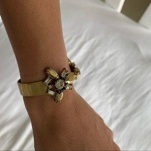 JCrew Gold Gemstone Cuff Bracelet